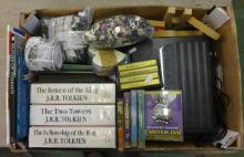 Audio Books inc. Tolkein Return of The King, The Towers, Fellowship of The Ring, Just William, record playing deck, bags of buttons, toy cars, aeroplanes, books, f/g items etc. (1 Box)