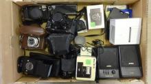 35mm Camera Equipment inc. Canon A1 with 50mm lens, Voightlander, Canon ML, Vivitar 28-200mm zoom lens, macro zoom lens, pair Aiwa speakers, Minox 35MB camera, slide viewer, accessories etc. (1 Box)