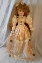 Modern Tall Standing Doll wearing lace trimmed dress, curly ginger hair, approx. 22