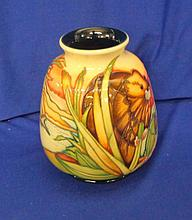 Moorcroft Squat Tapering Circular Vase labelled RSPB King 198/5, No. 11 of 75 dated 2013, decorated with beavers building dam, blue glazed interior, approx. 5 7/8