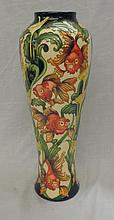 Moorcroft Baluster Shaped Tall Vase No. CP GL 121/14 dated 2006, decorated with carp swimming on cream ground amongst flowers & reeds, monogrammed KG in urn to base with various other impressed & painted signatures, approx. 14 1/2