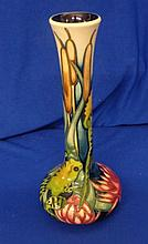 Moorcroft Vase 'Leap Of Faith'  issued in a Limited Edition of only 100 Worldwide as part of The Design Portfolio Collection in 2010, designed by Kerry Goodwin, cream ground with iris decoration, signed under glaze to base by the designer, this was No. 1 of the edition, approx. 7 3/4