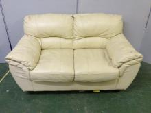 Cream Leather Faced 2 Seater Traditional Club Style Sofa with squab cushions