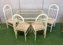 Set 4 White Painted Metal Dining Chairs with rope tassel backs & Matching Rectangular Dining Table (5)