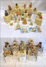 Enesco Cherished Teddies Figurines: Tanna 476595, Duncan 163473, Miranda 476706, Fred 661856, Sawyer & Friends 662003F, Lauren 308684, Baxter & Friend 644358F & Sarah 308676, all with boxes & certificates, Symbol of Membearship Figurines 1996, 1997, 1998, 1999, 2000, 2001 & 2002, Membears Only Figurine 1998 Wade Weathersbee,  Humphrey 352977 with box & certificate, Theadore, Samantha & Tyler, Betsey & Kevin with certificates, 2 Bears on Bench Event Figurine CRT240 with box, Bear With ABC Block with box, Little Sparkles Birthstone Bear November, 2 Bears with padlock & key,  3 unboxed figures, 2 Bearettes hair accessories, & 2 Membearship Club Badges