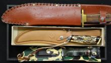 Three Big Hunting Knives w/ Sheaths