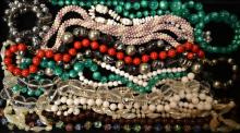 Tray of Beaded Costume Necklaces & Bracelets