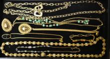 Grouping Of Gold Tone Costume Jewelry