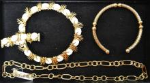 Tray Of Gold Tone Costume Jewelry