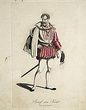 Theaterkostüme.  24 altkolor. Aquatintaradierungen bei H.F.Müller, Wien um 1850. 8°. Hs. num. 1-