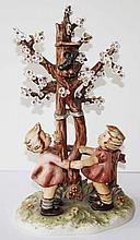 Hummel 635 Frühlingstanz.  2 Mädchen am blühenden Baum mit Vogelhaus. Ed.1990. Perfekter Zust.