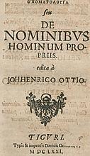 Ott,H.H.  Onomatologia (graece) seu De Nominibus Hominum Propriis. Züri
