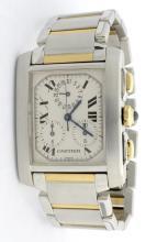 Cartier Tank Chrono Two Tone Mens Wristwatch