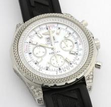 Breitling for Bentley Mens Wristwatch with Diamonds and Mother of Pearl Face