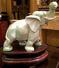 Jadeite Elephant on Base