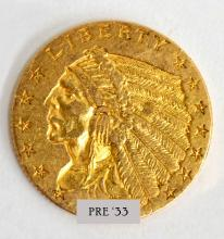 $2 1/2 Gold Indian Head Coin