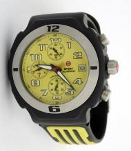 Michelle W. Sport Aluminum Black & Yellow Wristwatch