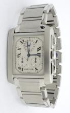 Cartier Tank Chrono Stainless Steel Mens Wristwatch