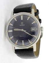 Omega Geneve Wristwatch *Replaced strap, fading color on dial, and dents on the case*