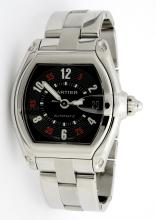 Cartier Roadster Black Dial Stainless Steel Mens Wristwatch
