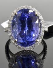 11.91 ct Tanzanite & Diamond Ring AV: $32,300