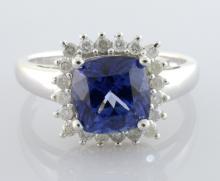 Tanzanite *Cobalt Coated* & Diamond Ring AV: $2,560