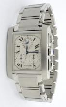 Cartier Tank Chrono Stainless Steel Mens Wristwatch