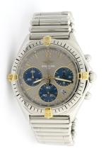 Breitling Chronograph Stainless Steel Wristwatch *Replaced Strap*