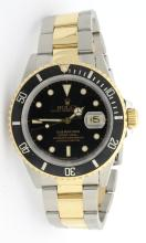 Rolex Submariner Two Tone Black Bezel and Face Mens Wristwatch