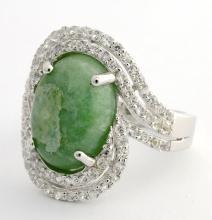 Emerald & White Sapphire Ring