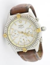 Breitling Wristwatch with Brown Leather Strap *Visible wear*
