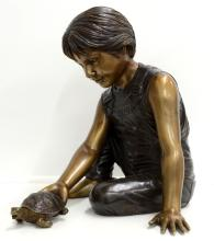 Boy with Turtle Fountain Bronze