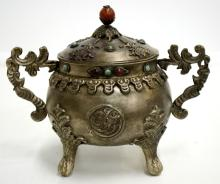 Silver Chinese Incense Burner