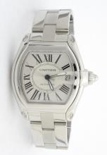 Cartier Roadster Stainless Steel Watch *with extra adjustable leather strap -heavily used- *