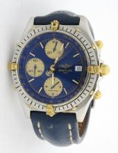 Breitling Two Tone Blue Face Stainless Steel Watch