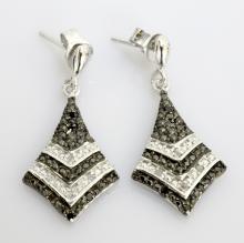 Silver Black & White Dia. Earrings