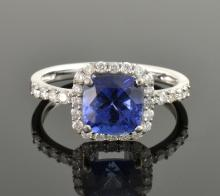 Tanzanite *Cobalt Coated* & Diamond Ring