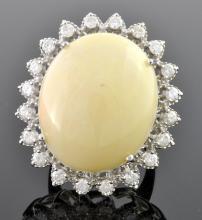 White Opal & Diamond Ring