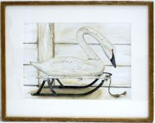 Jody Whitsell Wood Swan Art (FRAMED)