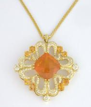 Fire Opal, Sapphire, and Diamond Necklace