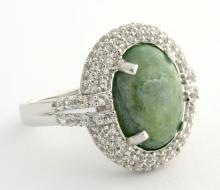 Dyed Emerald & White Sapphire Ring