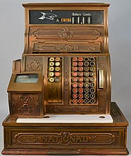 VINTAGE FANCY CAST BRASS NATIONAL CASH REGISTER