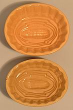 (2) 19TH CENT. YELLOW WARE CORN PATTERN FOOD MOLDS