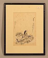 (2) 19TH CENT. JAPANESE SUMI - E DRAWINGS INC. TACHIBANA MORKUNI AND (1) UNKNOWN