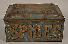 19TH CENT. PAINTED TIN SPICE BOX WITH (6) PAINTED SPICE CANNISTERS