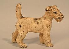 EARLY 20TH CENT. PAINTED CAST IRON FOX TERRIER DOG DOOR STOP