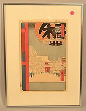 (2) ANDO HIROSHIGE JAPANESE WOODBLOCK PRINTS INC. KINRYUZAN TEMPLE AT ASAKUSA, AND WAVE & PLOVER