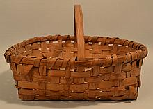 19TH CENT. N.E. WOVEN SPLINT HANDLED BASKET