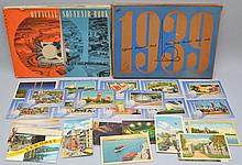 BOXED OFFICIAL SOUVENIR BOOK AND POSTCARDS FROM THE 1939 N.Y. WORLD'S FAIR AND OTHER POSTCARDS