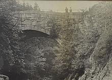 LARGE VINTAGE PHOTOGRAPH OF A COUPLE ON TOP OF STONE BRIDGE